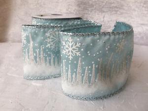 Reel Chic 22mm Azul Cinta del Grosgrain Plata Copo De Nieve Frozen Estilo-Navidad