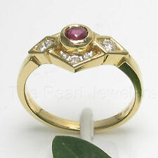 14k Yellow Solid Gold Genuine Diamond, Natural Red Ruby Channel Setting Ring TPJ