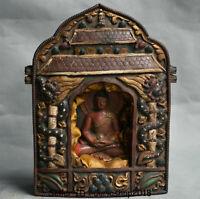 "8"" Old Tibetan Buddhism Temple Bronze Shakyamuni Amitabha Buddha Ghau Shrine Box"