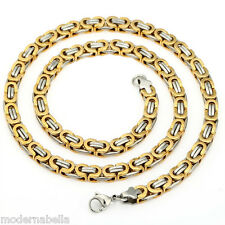 Collana,catena stile greco 5mm UOMO Argento oro in Acciaio titanium Steel 316L