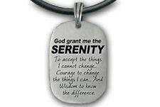 Serenity Prayer Necklace - Christian Pendant PVC Rope- God Grant Me the Serenity