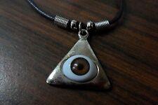 NEW Silver Pyramid Brown Eye Triangle Illuminati Pendant Necklace w/ Black Cord