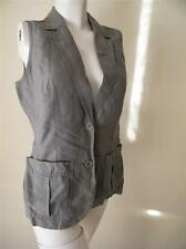 J JILL USA SIZE XS LINEN SILK KHAKI GRAY STYLISH VEST NEW WITHOUT TAGS
