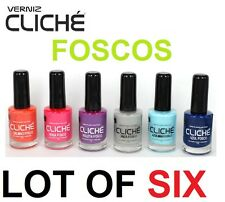 LOT OF 6 COLORS NEW NAIL POLISH 11ml CLICHÉ MATT Pink Violet Salmon Blue Gray