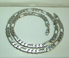 MEN 18K White Gold Plated 5mm FIGARO Chain Necklace 24 inches