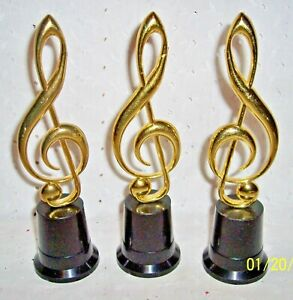 "MUSICAL NOTE TREBLE CLEF GOLD W/BLACK BASE TABLE DECORATION: 8.5"" H"