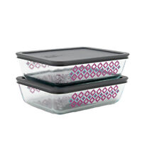 2pk Pyrex 6 Cup Glass Home Kitchen Food Storage Containers With Airtight Lids