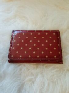 Kath Kidston Dark Red With Spots 3 Fold Card Wallet