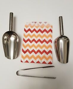 100 paper Red And Orange Chevron Zig Zag sweet bags 2 scoops and tongs