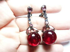 Vintage Gun Metal Pink Rhinestone Red Open Back Glass Dangle Clip On Earrings