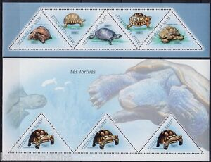 Guinea 2011 MNH 2 SS Set, Turtles, Reptiles, Odd unusual Triangle Stamps