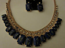 Necklace Earrings Set Blue Hand Painted Rhinestone Unique Gold Finish NWT G68