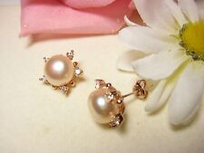 Earring 925 Silver Gold Plated Studs Pearls Jewelry Freshwater Pearls Pink