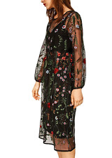 AU seller - black floral embroidered loose mesh cocktail dress with midi slip