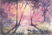 Original Painting Sunsets Art Deco Tree landscape listed by artist Artettina USA