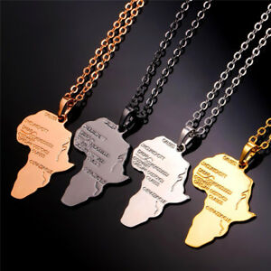 Gold Black Or Silver Africa Necklace Pendant Chain Rasta Reggae African Afro Map