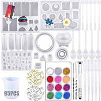 Resin Craft Mold, 99 Pcs Epoxy Resin Moulds with Drill and Bag, Reuseful DIY Kit