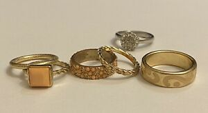 Rose gold-tone stackable rings coral peach sweet elegant romantic free gift
