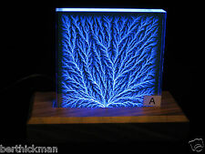 "4x4 inch ""Captured Lightning"" Edge-Discharged sculpture AND walnut light base"