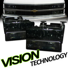 For 88-00 Chevy C10 Tahoe/Suburban Smoke Tint Headlights+Parking Bumper Lamps Dy