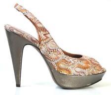 NIB MISSONI nude bronze zig zag open-toe slingback heels shoes 38.5 US 8.5