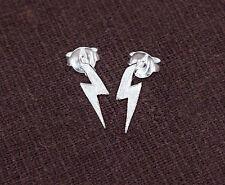 925 Sterling Silver Lightning Bolt Stud Earrings 3x11mm.