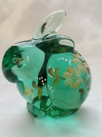 Fenton Green Art Glass Bunny Hand Painted & Signed