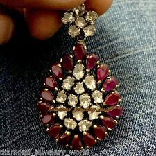 Silver Artdeco Estate Pendant Jewelry 2.01cts Antique Cut Diamond Ruby Studded