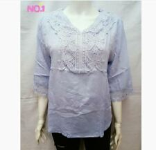 PLUS SIZE LACE BLOUSE - LIGHT BLUE