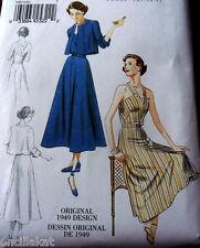 1940s VOGUE VINTAGE MODEL HALTER DRESS & JACKET SEWING PATTERN 14-16-18-20-22 UC