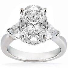 2.53 carat 2.01 ct center OVAL shape DIAMOND Wedding Ring w/ 2 Trillion cut 14k
