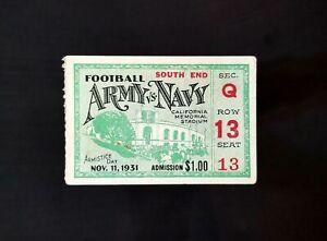 1931 Army Navy Game Ticket Stub Nov 11th Armistice Day Calif Memorial Stadium