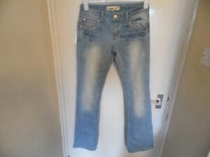 Ladies Blue Denim Stonewash Jeans with Studs and Diamante Detail size 10