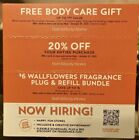 3 Bath And Body Works Coupons 20% Off, Body Care Gift, $6 Wallflowers Exp 10/31