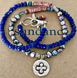 """NEW $148 Sundance 17"""" Lapis Peacock Pearl Sterling Silver Rhodonite Necklace NWT"""
