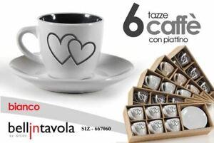 SET 6 TAZZINE CAFFE' CON PIATTINO TAZZE IN CERAMICA CUORI SHABBY 667060 GICOS
