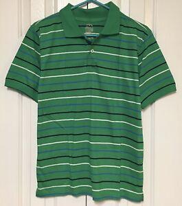 Faded Glory Youth Boy's XL 14-16 Golf Shirt Short Sleeve Green Striped Athletic
