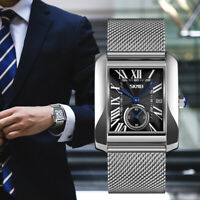 Men's Business Quartz Date Watch SKMEI Fashion Square Stainless Steel Wristwatch