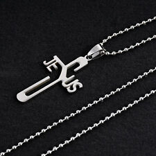 Women Men Silver Titanium Steel Jesus Cross Pendant Necklace Beading Jewelry NEW