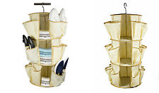 Shoe Carousel Closet Organizer 3 Tier Clothes Hanging Space Saver 24 Pockets
