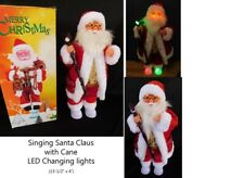 Santa Claus with Cane Color Changing LED Light plays Singing Christmas Music