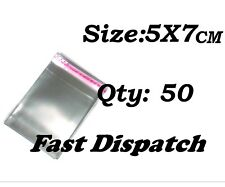 50 of 5 X 7 cm Clear Cello Cellophane Bags Display Self Adhesive Peel & Seal