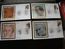 FRANCE - 4 enveloppes 1er jour 1992 (celebrites) (cy77) french