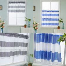 Striped Bathroom Short Valance Rod Pocket Curtains Kitchen Window Treatment