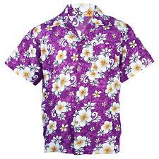 Hawaiian Shirt Aloha Hibiscus Chaba Leisure Beach Holiday Purple 3XL hg265v