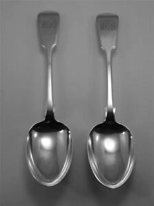 Excellent Pair of Exeter HM Silver Serving Spoons - 1839 W R Sobey - 150gm