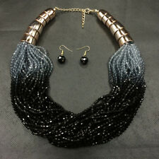 Fashion Women Luxury Multi-Layered Resin Beads Bib Necklace Earring Jewelry Set