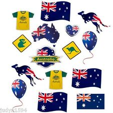 PACK OF 15 AUSTRALIA DAY CUTOUT DECORATIONS AUSTRALIAN PARTY BBQ ANZAC AUSSIE