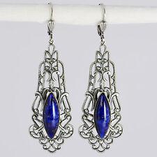 Grevenkämper Ohrringe Silber Glasstein Navette Verzierung Vintage blau Lapis