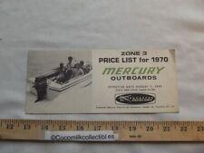 Brochure 1970 Mercury Outboard Boat Motors Price List Merc 40 to 1350 Engines